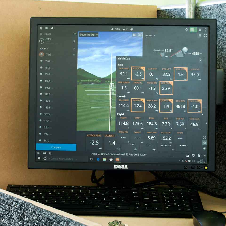 Trackman screen at Playsport Golf